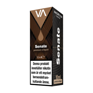 INNOVATION Senate E-juice has a mild and sweet taste of American tobacco and a soft caramel hint.
